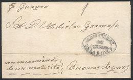 PARAGUAY: Entire Letter Dated 6/DE/1859, Sent To Buenos Aires Por Vapor Guayra, Con Encomienda De Un Matecito, With Blac - Paraguay