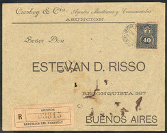 PARAGUAY: Front Of Registered Cover Sent From Asunción To Argentina On 25/MAR/1894 Franked With 40c. (Sc.42 ALONE), Mino - Paraguay
