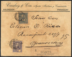 PARAGUAY: Front Of Registered Cover Sent From Asunción To Argentina In JUL/1895 Franked With 50c. (Sc.37 + 42, Rare Comb - Paraguay