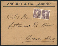 PARAGUAY: Front Of Cover Sent From Asunción To Argentina On 3/MAR/1896 Franked With 10c. (Sc.36a Pair), Minor Defects, V - Paraguay