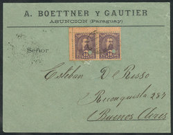PARAGUAY: Front Of Cover Sent From Asunción To Argentina (circa 1896) Franked With 20c. (Sc.37 Corner Pair!), Minor Defe - Paraguay