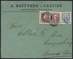 PARAGUAY: Front Of Cover Sent From Asunción To Argentina In APR/1897 Franked With 20c. (Sc.36a Pair + 38), Minor Defects - Paraguay
