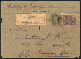 PARAGUAY: Front Of Registered Cover Sent From Asunción To Argentina On 22/SE/1897 Franked With 40c. (Sc.37 + 41), Minor  - Paraguay