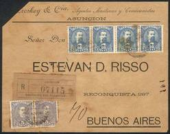 PARAGUAY: Front Of A Registered Cover Sent From Asunción To Buenos Aires On 6/OC/1897, Franked With 50c. Consisting Of S - Paraguay