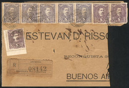 PARAGUAY: Front Of Registered Cover Sent From Asunción To Argentina On 8/DE/1897, With Spectacular Postage Of 40c. Combi - Paraguay