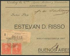 PARAGUAY: Front Of Registered Cover Sent From Asunción To Argentina In JAN/1898 Franked With 40c. (Sc.40 Pair), Very Nic - Paraguay