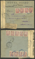 PARAGUAY: 8/FE/1918 Asunción - Porrentruy (Switzerland), Cover With Corner Card Of Hotel Suizo, Sent By Registered Mail  - Paraguay