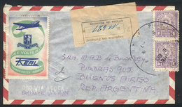 PARAGUAY: Airmail Cover Sent To Buenos Aires With Interesting Advertising CINDERELLA Of The Airline REAL S.A., Rare! - Paraguay