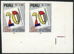 PERU: Sc.1058, 1993 Intl. Pacific Fair, IMPERFORATE PAIR, Excellent Quality! - Peru