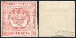 PERU: Sc.10, 1860 1P. Rose, Mint With Gum, VF Quality, Signed On Back, Catalog Value US$450 - Peru
