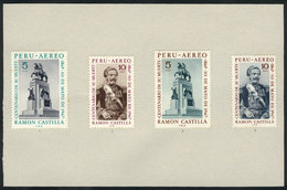PERU: Sc.C236/7, 1969 President Ramón Castilla, TRIAL COLOR PROOFS (issued And Other Colors) Glued On Card To Be Present - Pérou