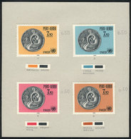 PERU: Sc.C279/280, 1970 Motherhood And UNICEF, PROOFS With A Different Face Value (Soles 7.10) In 4 Different Colors, Gl - Pérou