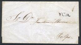 """PERU: Circa 1836, Undated Folded Cover Sent To Palpa, With YCA In Black And 1 In Pen, VF!"""" - Peru"""
