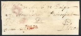 "PERU: Circa 1800, Folded Cover Sent To Pisco With Orange-red PALPA Mark Very Well Applied, Rare!"" - Peru"