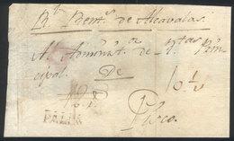 "PERU: Circa 1800, Folded Cover Sent To Pisco With PALPA Mark In Brown, Very Rare!"" - Peru"