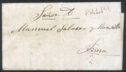 """PERU: Entire Letter Dated 10/DE/1851 Sent To Lima, With Black PALPA Marking Very Well Applied, VF Quality, Rare!"""" - Pérou"""