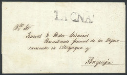 PERU: Circa 1825, Undated Folded Cover Sent To Arequipa, Large-size TACNA Mark (42 X 10.5 Mm) In Black, Excellent Qualit - Pérou