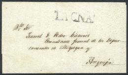 PERU: Circa 1825, Undated Folded Cover Sent To Arequipa, Large-size TACNA Mark (42 X 10.5 Mm) In Black, Excellent Qualit - Peru