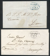 PERU: Circa 1848, 2 Undated Folded Covers Sent To Lima And Arequipa, With Oval FRANCA - TACNA Mark In Blue And Black, Ex - Pérou