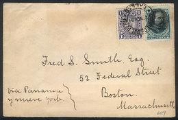 PERU: Cover Sent From Callao To USA On 25/NO/1894 Franked With 11c. (Sc.104 + 123), Very Fine Quality! - Pérou