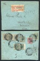 PERU: 4/MAY/1916 TRUJILLO - Valparaiso: Registered Cover Franked On Reverse With 16c. (Sc.177 X3 + 178 X4 + 180), VF Qua - Peru