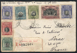 PERU: Registered Cover Franked By Sc.210/1 + 212 X2 + 214 + 216/7, Sent From Callao To France In 1923, VF Quality, Very  - Pérou