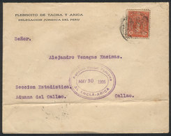 PERU: Cover Franked By Sc.245 And Sent To El Callao On 30/MAY/1926, With Interesting Oval Agencia Postal Peruana - EL AN - Pérou