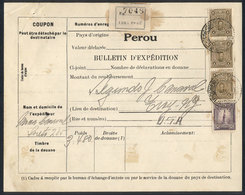 PERU: Despatch Note Sent From Lima To USA, With Very Nice Postage Of 3.50 Soles (Sc.248 + 249 Strip Of 3), VF Quality! - Pérou