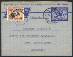 SOUTH AFRICA: 6d. Aerogram + Additional Franking (6d. Lion), Sent On 18/MAY/1958 From Pretoria To Argentina, VF Quality! - Afrique Du Sud (...-1961)