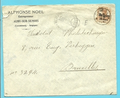 "BZ 15 Op Brief Sterstempel (Relais) * CUGNON * , Censuur BERTRIX , Hoofding "" NOEL / AUBY-SUR-SEMOIS"" - Guerre 14-18"
