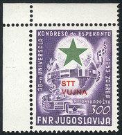 YUGOSLAVIA - TRIESTE: Yvert 20, 1953 Esperanto Congress, MNH, Sheet Corner, Excellent Quality, Catalog Value Euros 280 - Non Classés