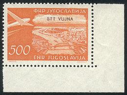 YUGOSLAVIA - TRIESTE: Yvert 31, 1954 500d. Orange, High Value Of The Set, MNH And With Sheet Corner, Superb! - Non Classés