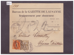 CARTE AVEC No ZUMSTEIN 66A+58A - BUREAU DE LA GAZETTE DE LAUSANNE - ( PLI HORIZONTAL ) - 1882-1906 Armoiries, Helvetia Debout & UPU
