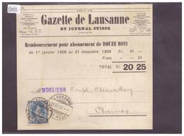 CARTE AVEC No ZUMSTEIN 93B - GAZETTE DE LAUSANNE - 1882-1906 Armoiries, Helvetia Debout & UPU