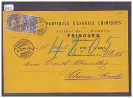 CARTE AVEC No ZUMSTEIN 69A+62A - AFFR. 52 Ct - FABRIQUE D'ENGRAIS FRIBOURG ET RENENS - ( PLI VERTICAL ) - 1882-1906 Armoiries, Helvetia Debout & UPU