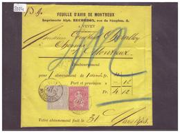 BANDE DE JOURNAL AVEC No ZUMSTEIN 28+38 - FEUILLE D'AVIS DE MONTREUX - 1862-1881 Helvetia Assise (dentelés)
