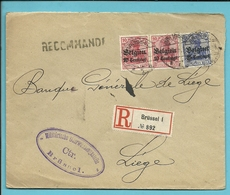 BZ3+4 Op Brief Aangetekend Met Stempel BRUSSEL,met Stempel CREDIT LYONNAIS / Der Zwangsverwalter - [OC1/25] General Gov.