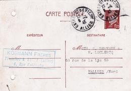 Entier Postal Pétain 1943 Vichy Entrepôt Allier Kosmann Frères Halluin Nord - Postwaardestukken