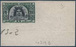 Tunisie Tete De Neptune N°319B** 200FR CDFeuille Non émis Dans La Couleur Du 316 -RR- - Tunisia (1888-1955)