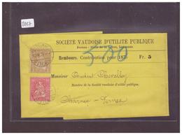 BANDE DE JOURNAL AVEC No ZUMSTEIN 37+38 - SOCIETE VAUDOISE D'UTILITE PUBLIQUE - 1862-1881 Helvetia Assise (dentelés)