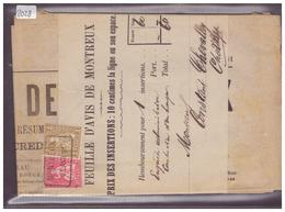 BANDE DE JOURNAL AVEC No ZUMSTEIN 37+38 ( RARE AVEC LE JOURNAL D'ORIGINE ) - FEUILLE D'AVIS DE MONTREUX - 1862-1881 Helvetia Assise (dentelés)
