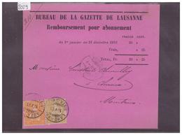 CARTE AVEC No ZUMSTEIN 32+37 - BUREAU DE LA GAZETTE DE LAUSANNE - 1862-1881 Helvetia Assise (dentelés)