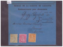 CARTE AVEC No ZUMSTEIN 32+37+38 - AFFR. 3 COULEURS - BUREAU DE LA GAZETTE DE LAUSANNE - 1862-1881 Helvetia Assise (dentelés)