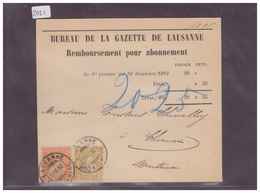 CARTE AVEC No ZUMSTEIN 44+48 ( PAPIER MÊLE ) - BUREAU DE LA GAZETTE DE LAUSANNE - 1862-1881 Helvetia Assise (dentelés)