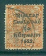 Ireland 1922 2d Orange Die I Provisional Opt. Blk 14.5x16mm Thom FU Lot78403 - 1922-37 Irish Free State