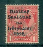 Ireland 1922 1d Scarlet Provisional Opt. Blue-Blk 14.5x16mm Thom FU Lot78424 - 1922-37 Irish Free State