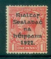 Ireland 1922 1d Scarlet Provisional Opt. Blue-Blk 14.5x16mm Thom MLH Lot78454 - Oblitérés