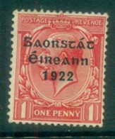 Ireland 1922 1d Scarlet Provisional Opt. Blue-Blk 3 Line Thom MLH Lot78501 - 1922-37 Irish Free State