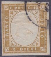 ANTICHI STATI SARDEGNA 1861 / 10c Bruno Usato Firmato Sorani   Sassone 14Cp - Sardaigne