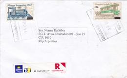ENVELOPPE CIRCULEE URUGUAY TO ARGENTINE YEAR 2006 RECOMMANDE STAMPS LOCOMOTORA TRANVIA - BLEUP - Treni